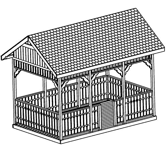 Custom Gazebo Plans, 10 x 16 Square, professional gazebo plans