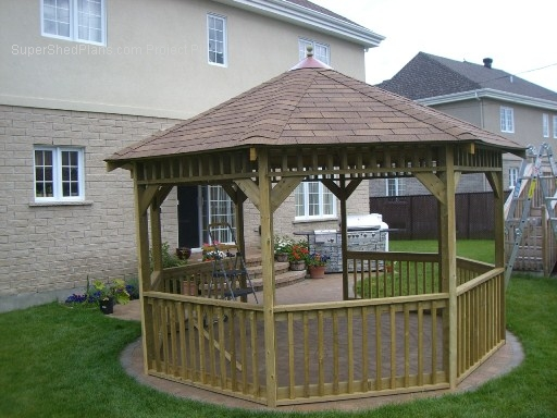 Basic design gazebo plans 12ft double roof octagon gazebo for Average cost to build a pavilion