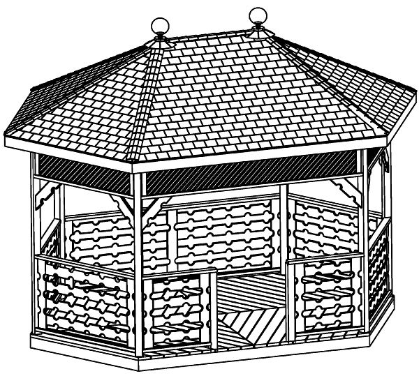 10 x 16 ft Hexagon Gazebo Plan