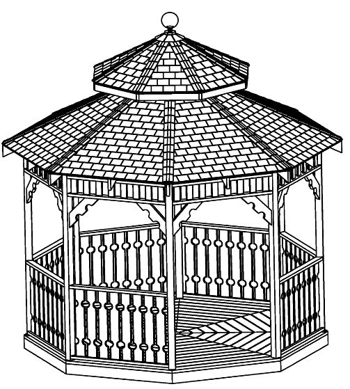12 ft double roof Octagon Gazebo Plan