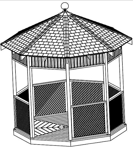 Gazebo building plans 12 39 square classic design cd step for Gazebo floor plans