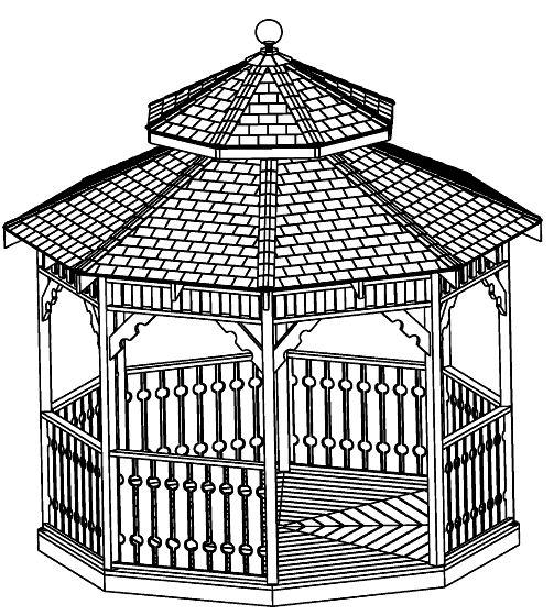 Gazebo plans package 13 different original designs step for Hexagonal roof framing