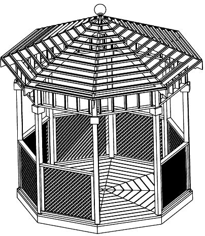 Custom Gazebo Plans, 10 ft Open Air Octagon, spacious sunlight